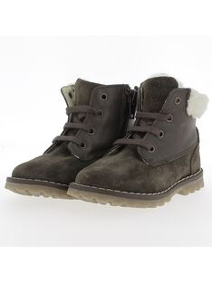 Baby boys' fur lined leather boots DBGBOOTMON / 18WK38T2D0D802