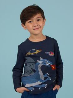 Boy's midnight blue dragon and space t-shirt MOPLATEE3 / 21W902O4TML705