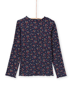 Girl's navy blue floral t-shirt MAJOUTEE6 / 21W90121TMLC205
