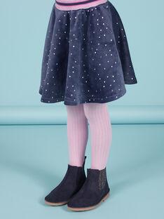 Girl's blue velvet skater skirt with gold polka dots MAPLAJUP2 / 21W901O2JUPC202