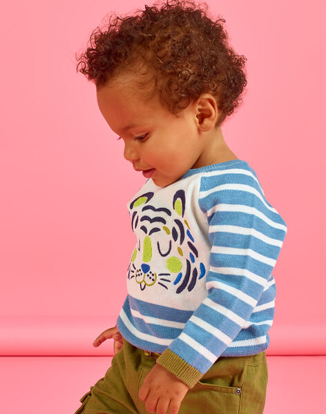 Baby boy's sky and white striped sweater MUKAPUL / 21WG10I1PUL020