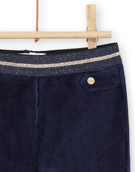 Baby girl navy blue velvet pants with gold details MIMIXPAN / 21WG09J1PAN070