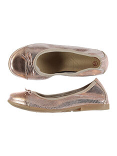 Girls' smart fancy leather elasticated ballet pumps FFBALRINE / 19SK35C1D41030