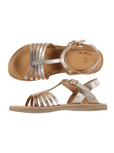 Girls' smart metallic leather sandals FFSANDOLI4 / 19SK35C9D0E954