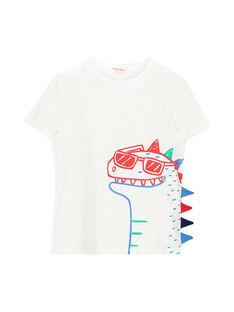 Boys' striped dinosaur T-shirt FOTOTI4 / 19S902L4TMC000