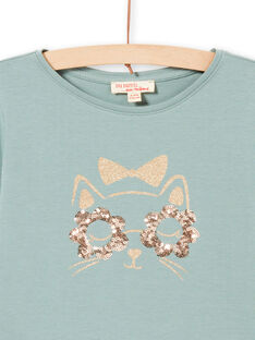 Girl's long sleeve t-shirt in turquoise with glittery cat design MAJOYTEE4 / 21W9012CTML612