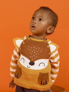 Baby Boy Mustard, Brown and Ecru Fox Sweater MUSAUPUL / 21WG10P1PULB106