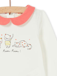 White and coral cotton baby girl bodysuit LINAUBOD / 21SG09L1BOD001
