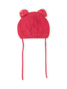 Vintage pink beanie with cat and pompons for baby girl MYIFUNBON / 21WI0966BOND332