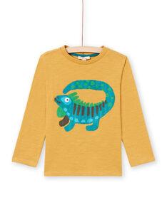 Boy's yellow long sleeve t-shirt with iguana print MOTUTEE2 / 21W902K3TMLB101