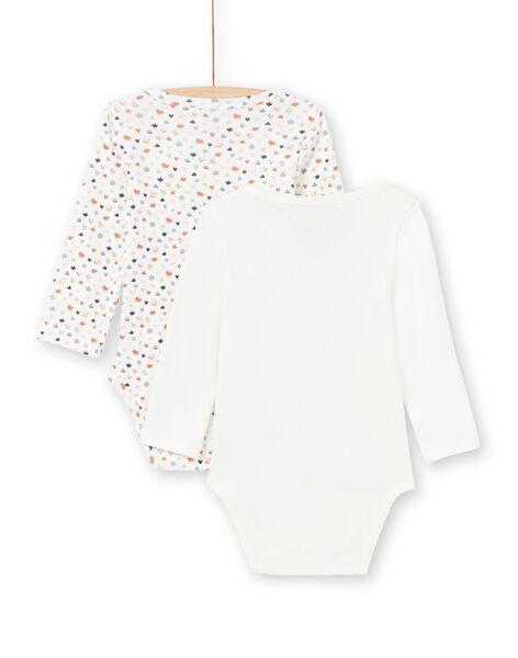 2 brown and ecru bodysuits birth girl MOU1BOD1 / 21WF0342BOD001