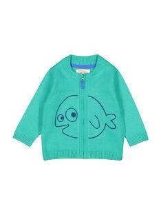 Baby boys' green knit zipped cardigan FUJOGIL4 / 19SG1034GIL210