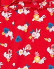 Red and white dungarees with floral print baby girl LIHACOMB / 21SG09X2CBL505