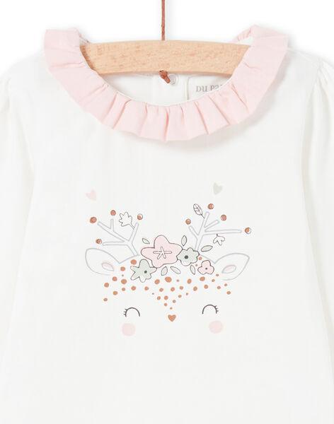 Baby girl's ecru long sleeve bodysuit with ruffled collar MOU1BOD4 / 21WF0341BOD001
