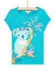 Girl's turquoise koala T-shirt LAVERTI3 / 21S901Q2TMCC217