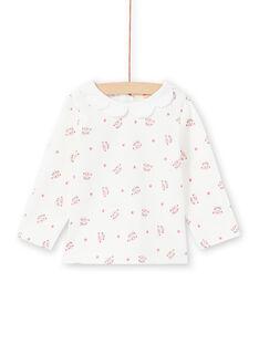 Baby girl's ecru long sleeve T-shirt with leopard head and flower print MIPABRA / 21WG09H2BRA001