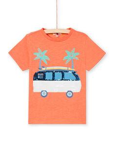 Boy's fluorescent orange T-shirt LOBONTI2 / 21S902W5TMCE411