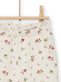 Baby girl beige jogging suit with floral print MIKABAJOG / 21WG09I1JGBA011
