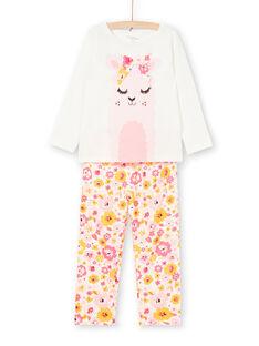 Pyjama T-shirt and pants white and pink child girl LEFAPYJLAM / 21SH1156PYJ001