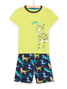 Boy's yellow phosphorescent pyjamas with felines LEGOPYCLEO / 21SH12C5PYJ117