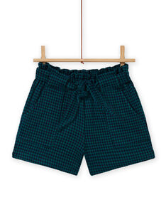 Girl's paper bag milano shorts with checks MATUSHORT / 21W901K1SHO070