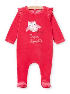 Girl's pink velvet sleep suit with owl pattern LEFIGRETYP / 21SH135AGRED332