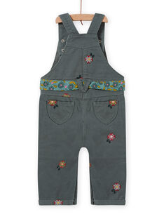 Baby girl khaki floral embroidery overalls MIKASAL / 21WG09I1SAL626