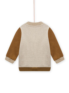 Brown and beige vest with tiger pattern baby boy MUKAGIL / 21WG10I1GIL604