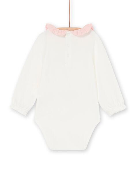 Pink and ecru baby girl bodysuit LICANBOD / 21SG09M1BOD001
