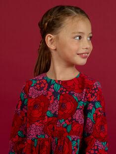 Girl's corduroy floral print long sleeve dress MAFUNROB1 / 21W901M3ROBH703