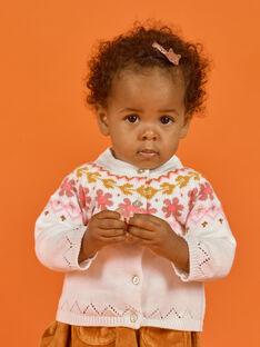 Baby girl ecru knitted cardigan MISAUCAR2 / 21WG09P2CAR001