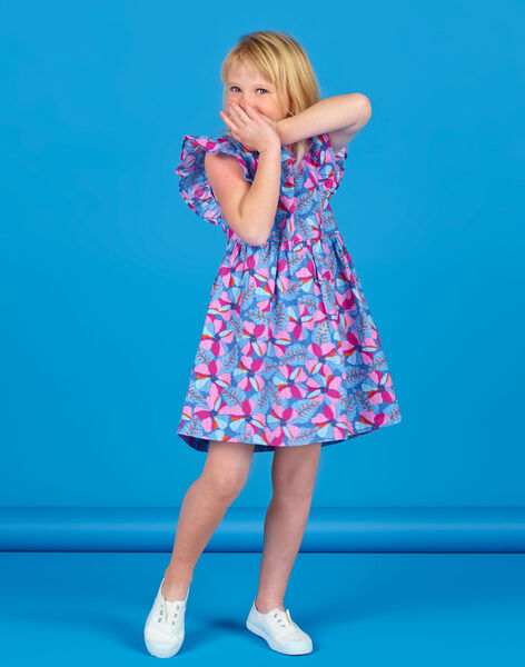 Lavender blue and pink dress with floral print and Lurex® stripes in cotton LABLEROB2 / 21S901J1ROBC208
