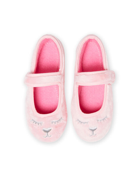 Light pink ballerinas in faux fur with cat design for baby girl MAPANTCATFUR / 21XK3522D07321