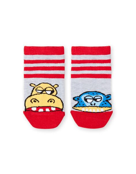 Grey and red striped socks baby boy LYOVISOQ / 21SI02U1SOQ943