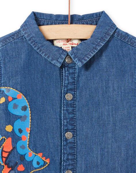 Baby Boy Long Sleeve Denim Dinosaur Shirt MUPACHEM / 21WG10H1CHMP274