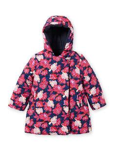 Girl's pink and navy blue reversible hooded parka MAPAPARKA / 21W90151PAR070