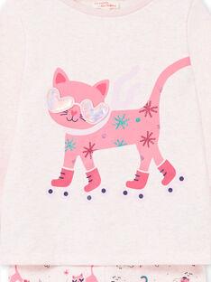 Girl's children's pajamas in cotton fleece with cat motif LEFAPYJCHA / 21SH1111PYJD314