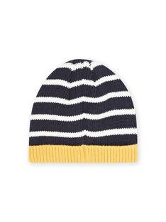 Baby boy navy blue striped beanie MYUMIXBON1 / 21WI1052BONC234