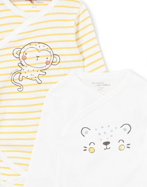 Set of 2 yellow and white bodysuits for boys births LOU1BOD2 / 21SF04H2BOD000
