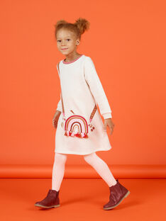 Off white lined dress with child girl bag design MACOMROB4 / 21W901L4ROB006