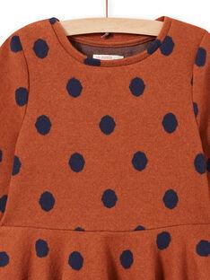 Knit dress caramel with polka dots child girl MACOMROB2 / 21W901L3ROB420