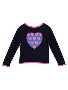 Girls' heart pattern cardigan GABLECAR / 19W90191CAR070