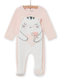 Pale pink romper with cat motif for baby girl MEFIGRECHA / 21WH1382GRE301