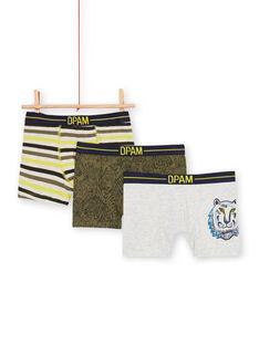 Pack of 3 khaki and grey boxers for boys LEGOBOXTIG / 21SH1221BOX612