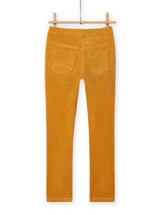 Girl's yellow corduroy pants MAJOVEJEG2 / 21W901N2PANB107