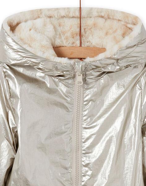Reversible gold jacket with leopard print child girl MAFOUDOUNE / 21W90151D3EA006
