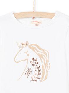 Girl's ecru T-shirt MAJOYTEE3 / 21W90111TML001