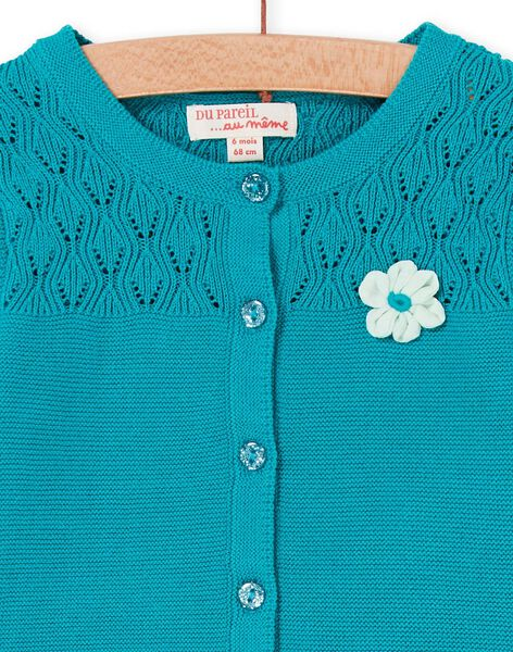 Baby girl turquoise openwork knit vest LIVERCAR / 21SG09Q1CARC216