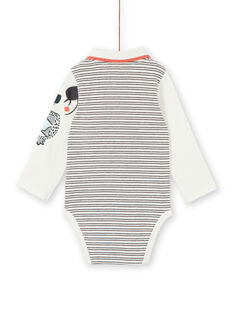 Off white and blue striped cotton bodysuit baby boy LUPOEBOD / 21SG10Y1BOD001