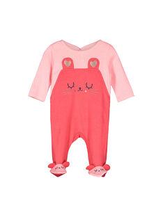 Baby girls' velour sleepsuit FEFIGRESOU / 19SH1392GRED303